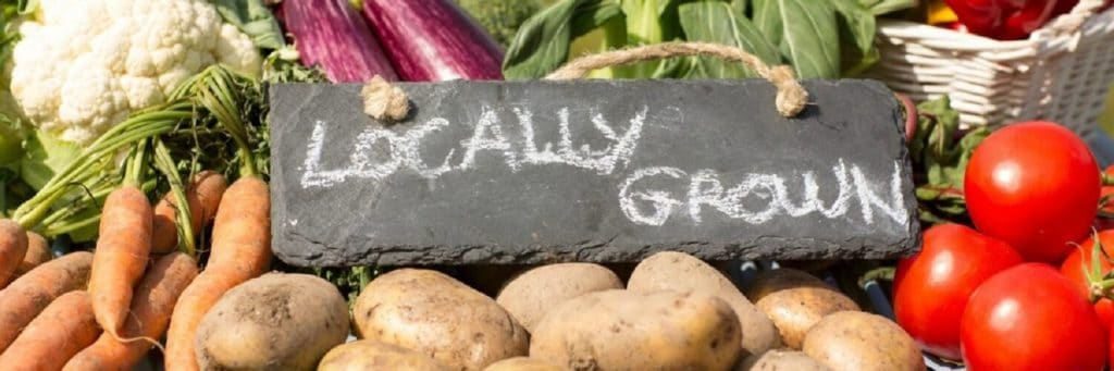 Farmers Market - Sign with chalk marks that read Locally Grown surround by fresh vegetables