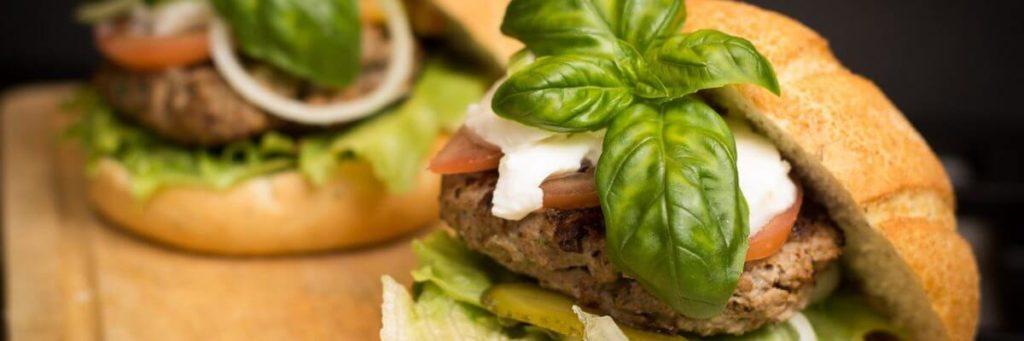 a hamburger on a plate