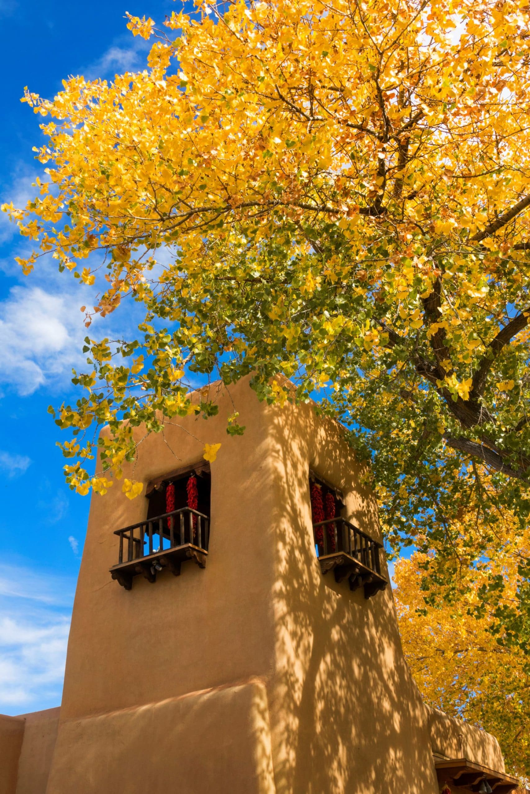 Santa Fe New Mexico building with bright colors